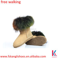 Genuine fur canadian winter boots for women