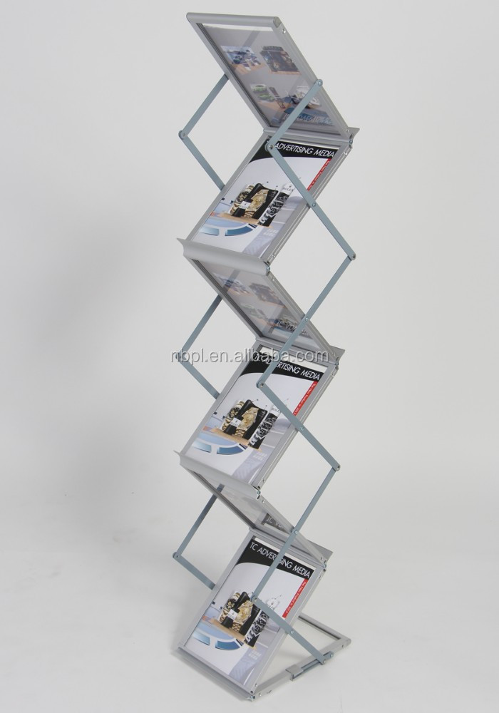 Good quality collapsible aluminum acrylic magazine holder pull up brochure stand