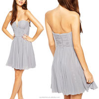 Elegant girl chiffon wrinkle off-shoulder dress grey mini evening dress