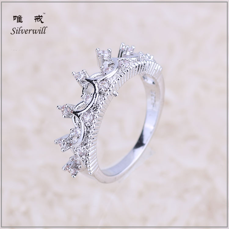 Best seller real 925 sterling silver Rhodium princess rings crown shaped