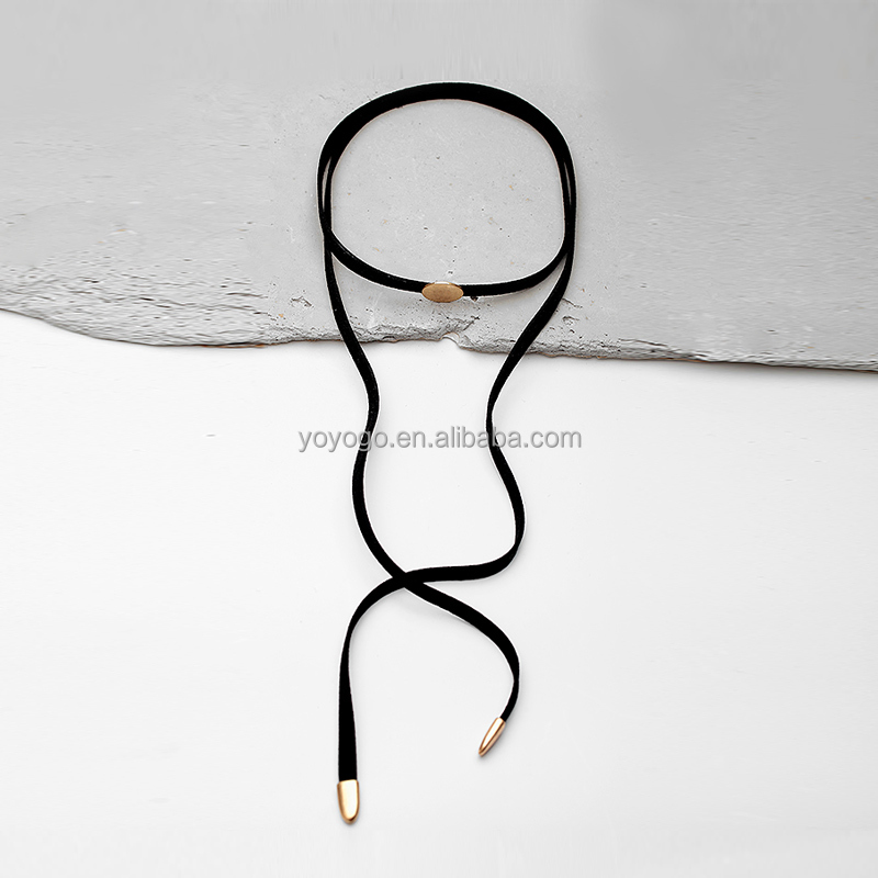 Choker black charm necklace long <strong>pendant</strong> in stock