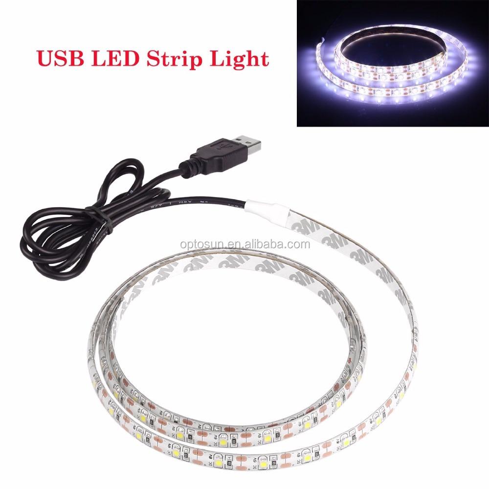 3m adhesive flexible usb led lights strip ribbon 3528smd 120leds 5v waterproof cool white buy. Black Bedroom Furniture Sets. Home Design Ideas