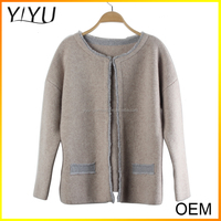 2016 Latest Designs long sleeve 100% cashmere cardigan sweater
