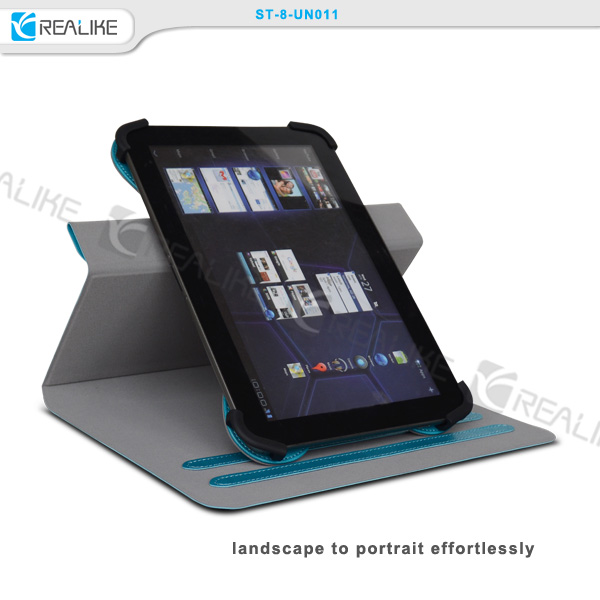 7-8 inch slim flip tablet cover, real leather rotating univeral cover case for tablet