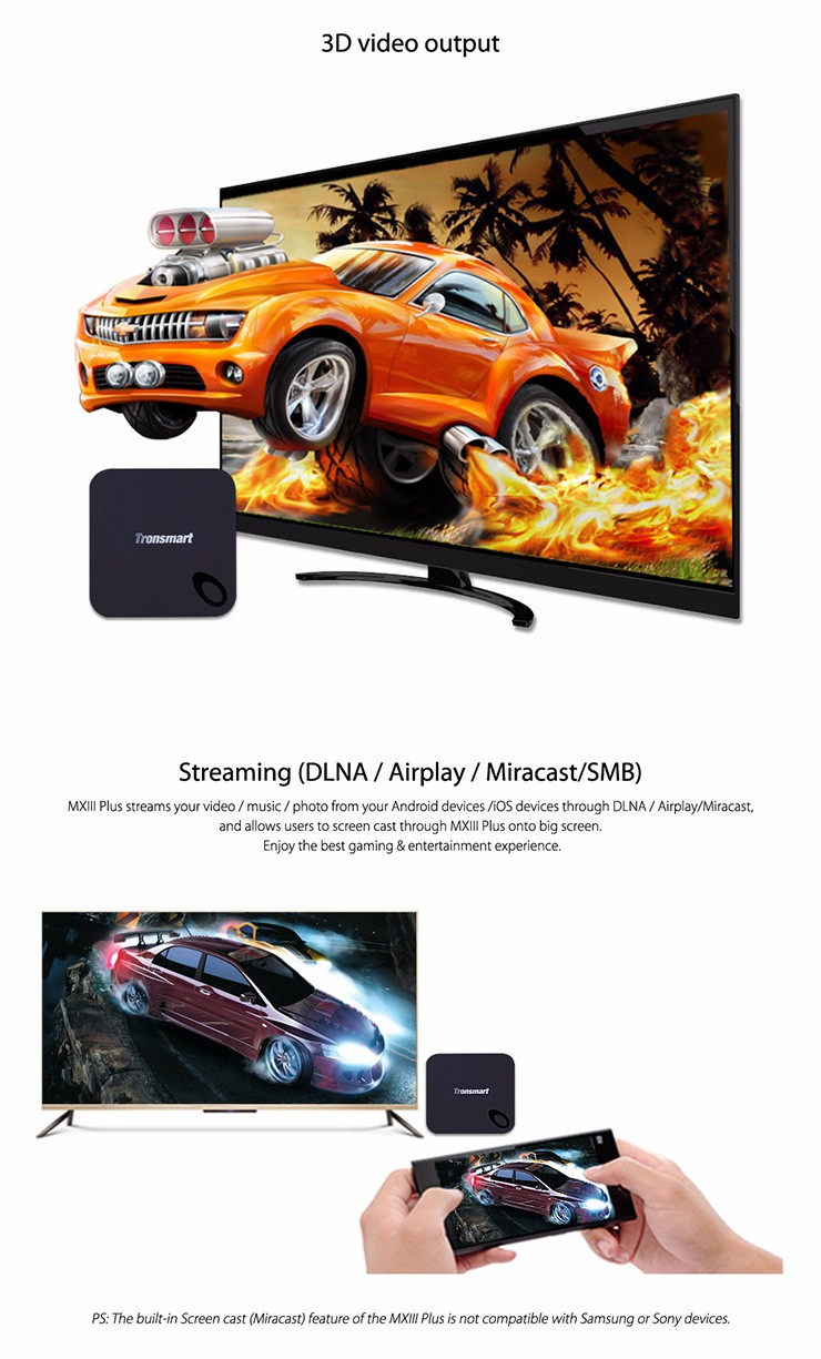 Factory Supply! Tronsmart MXIII Plus 2G/16G Amlogic S812 Quad Core 2.0GHz Android 5.1TV Box 4K H.265 XBMC OTA 2.4G/5GHz