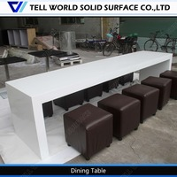 High end heavy-duty long narrow marble top restaurant dining table seats 12