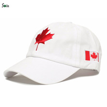 White unstructured 6 panel embroidery canada flag wholesale dad hat with inside stripes