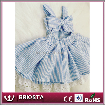 wholesale seersucker baby girl dress with eyelet trim big bow