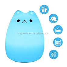 Multicolor Changing LED Night Light For Kids Cute Cat Design Silicone Good Quality Custom Service