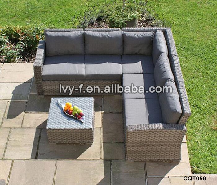 Resort Patio Rattan Modern L Shape Sofa Terrace Sofa Set Outdoor Synthetic Wicker