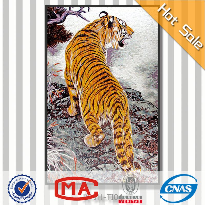 tiger picture frame design mural tiles wallpaper handmade glass tiger mosaic tile murals 3d picture of tiger