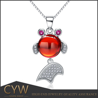 CYW wholesale 925 sterling silver red agate stones boy and girl pendant christian fish pendant