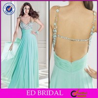 New Model A-line Long Chiffon Turquoise Beaded Formal Dress 2014