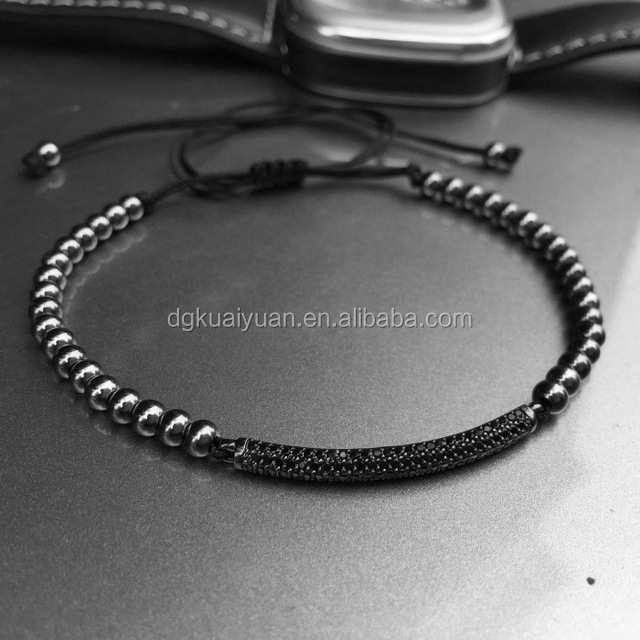 Men girl Bracelets Micro inlay zircon beads/Macrame diamonds black bead bracelet