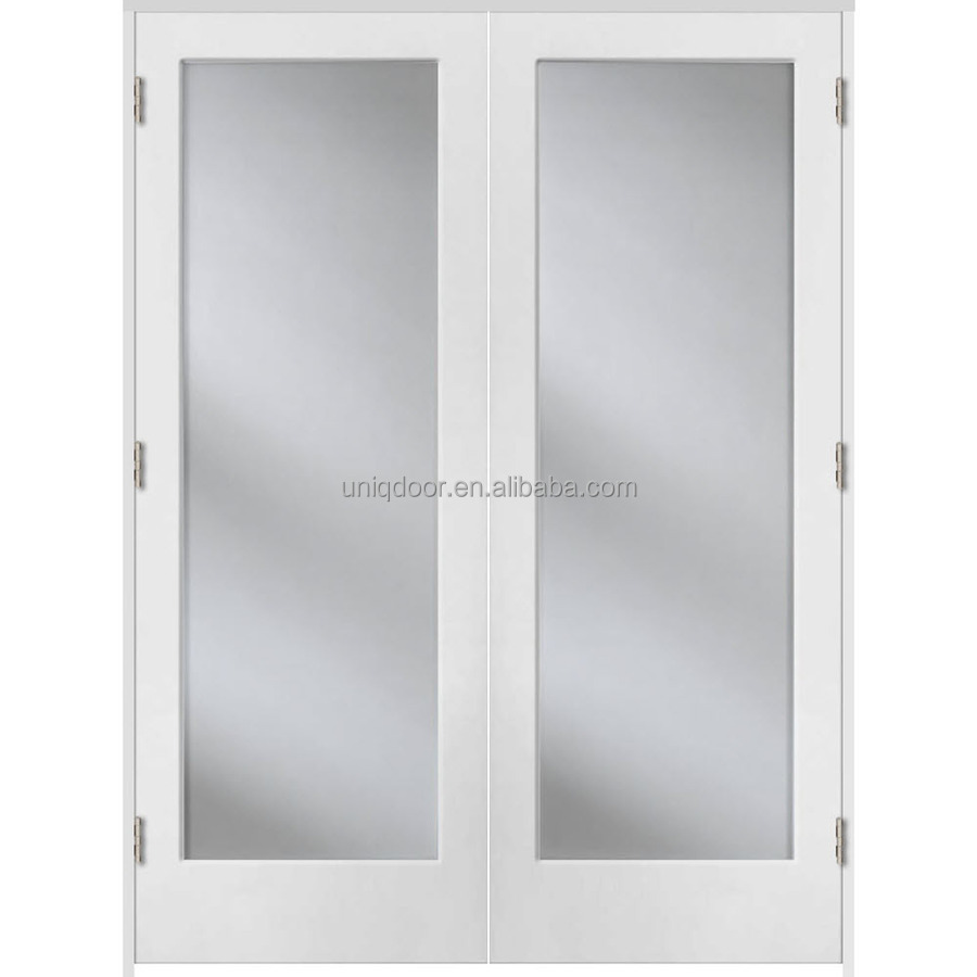 Prehung solid core 1-panel interior french doors with glass