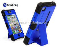 For iPhone 4 rigid hard case cover stand holster/hybrid impact triple layer case cover kickstand for iphone 4 4s phones