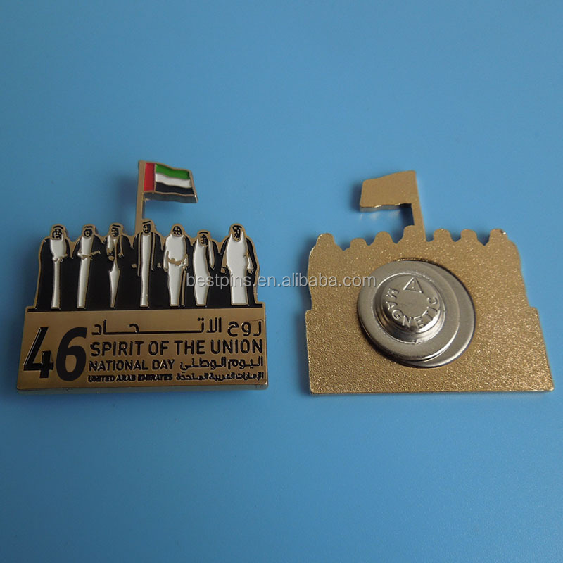 Magnetic UAE national day souvenir badge,custom souvenir lapel pin for 2017 new <strong>design</strong>