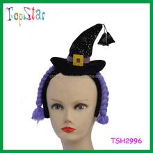 Cheap Wholesale Fancy Decorated Mini Witch Hat Headband With Braids