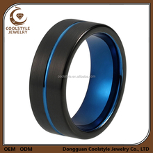 Tungsten thin blue center line black plated simple designs engagement finger ring