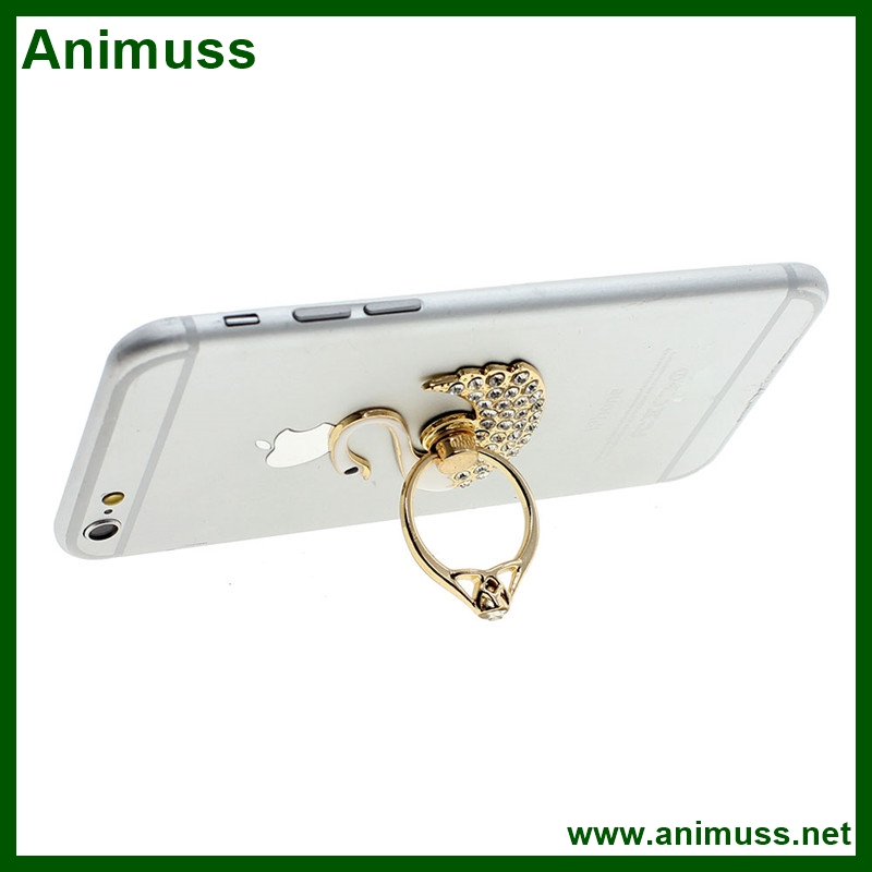New Swan Shape 360 degree Rotated Universal Finger Ring Stand Bracket Buckle Mobile Phone Holder