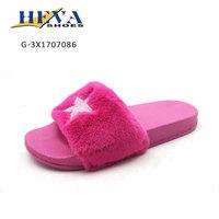 Outdoor popular design faux fur flat slide lady slide sandal