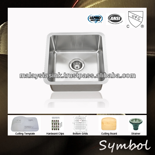Durable 18 Gauge 304 Grade Stainless Steel Kitchen Basin