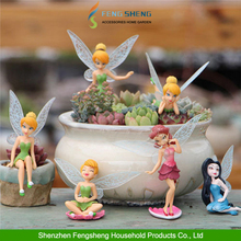 6X Flower Fairy Pixie Women Fly Wing Family Miniature Dollhouse Garden Ornament