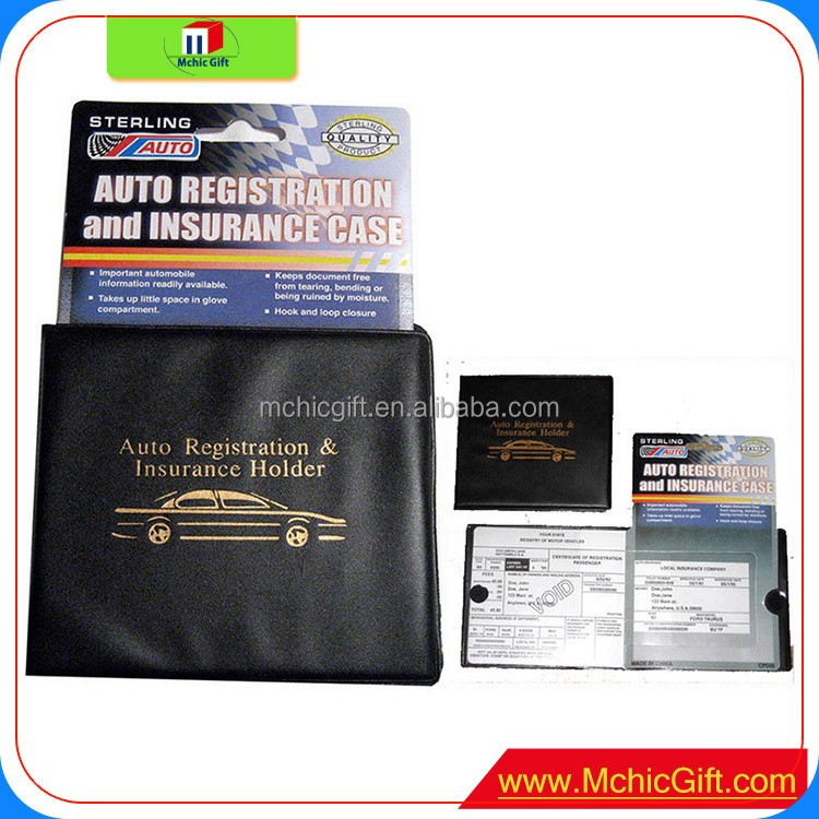 Essential Car Auto Insurance Registration BLACK Document Wallet Holders with Strong Velcro Closure On Each