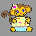 Monkey With Domestud Fabric Combination Hot fix Motif For garments accessories