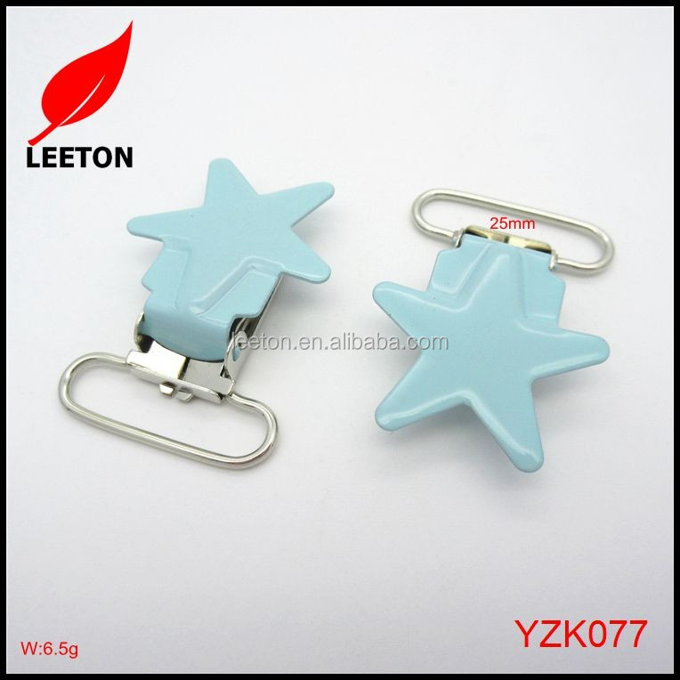 Factory supply 25mm nickel and lead free star baby suspender clip