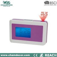 Projection abs digital alarm clock with snooze function , 7 change color change digital alarm clock