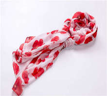 New Design Red Flower Printed Scarf Voile Wrap Shawl
