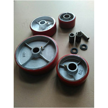 Cast hub Moldon PU wheel with roller bearing parts