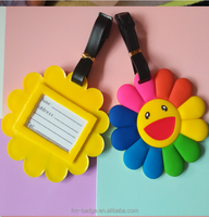 New colorful sun flower soft pvc rubber luggage tags name bag card holder suitcase tag