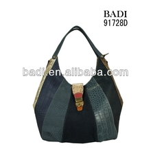 New arrival,fashion hot fall and winter hobo croco splicing synthetic leather shoulder bag,casual elegant lock closure handbag