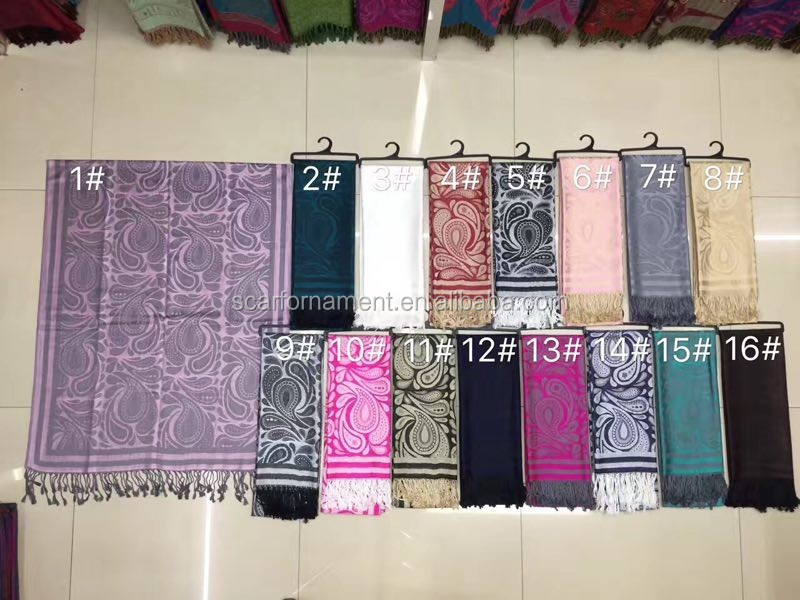 2017 new design jacquard weave pashmina shawl material cotton