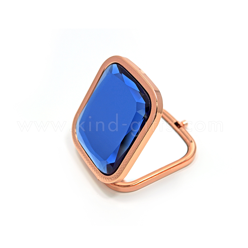 Pure Blue Rhinestone Decorative Rectangular Standing Mirrors Rose Gold Metal Compact Mirror