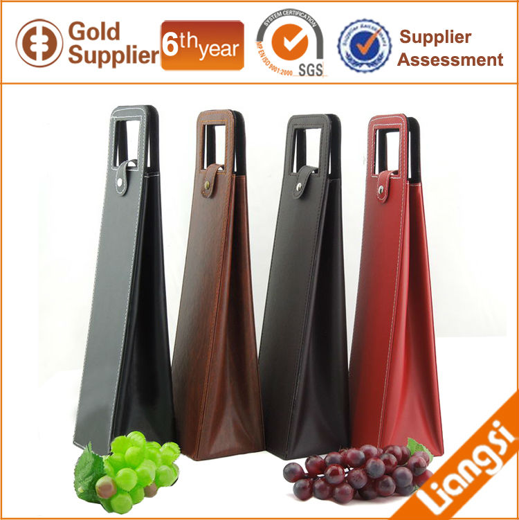 simple colorful wine bag carrier case, trapezoidal shaped fancy 1 wine bottle protective gift bag