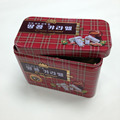 Metal rectangular tin box meet FDA and CA65 food safety standard chequer design gift box