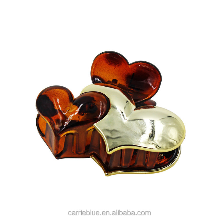 Heart Shape Gold Metal Plastic Latest Design Hair Claw Clip Made In China