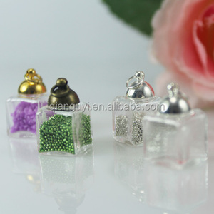 Empty Mini glass bottle globe square shape jewelry pendant