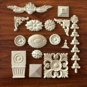 European style real wood decoration material furniture part wood carved onlays