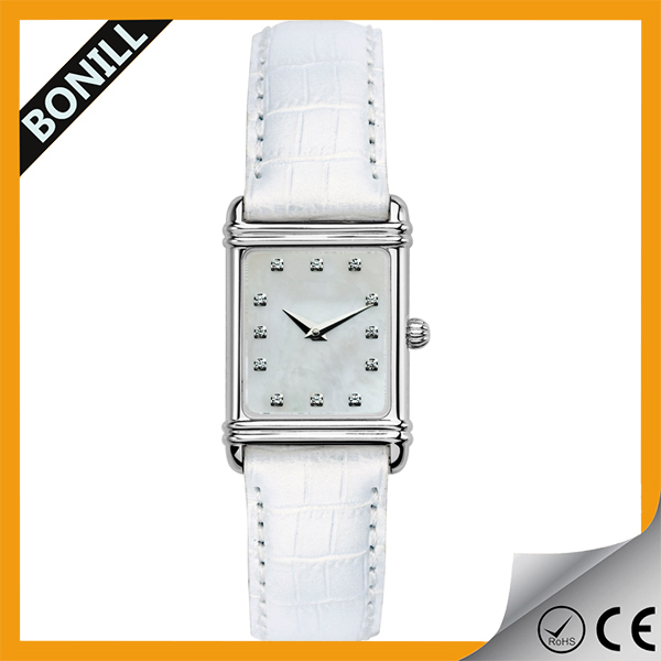 Geneva quartz leather band square case watch water resistant women rhinestone watch