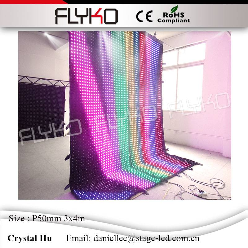 Flyko stage flexible led video curtain display CE certificates led mesh flexible animation curtain wall video <strong>screen</strong> P50mm 3*4m