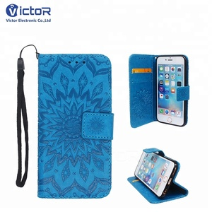 OEM Pattern Hand Strap PU Wallet Leather Mobile Phone Case for iPhone 6 7 8