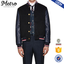 Leather Sleeve Wool Varsity Jackets for Men Stripe Ribbing
