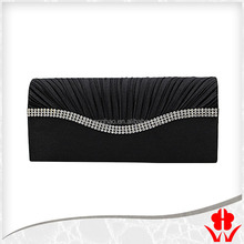 satin fabric with crystal evening purse party clutch bag