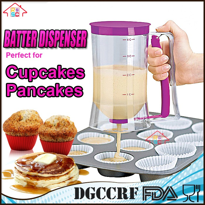 TOP & HOT SELL Cheap Price 4 Cups 900ml Cake Mix Plastic Cup cake Pancake Muffin Batter Dispenser Measuring Baking Release Jug