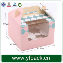 Customized Cardboard Cupcake Box/ Cookie Packaging Boxes with Clear Window