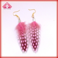 Fashion and wholesale feather pink hook bali jewerly earrings (QXER15246)